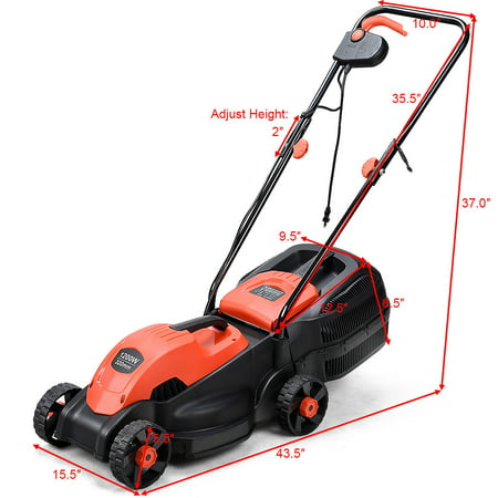 Costway 12 Amp 14 Inch Electric Push Lawn Corded Mower