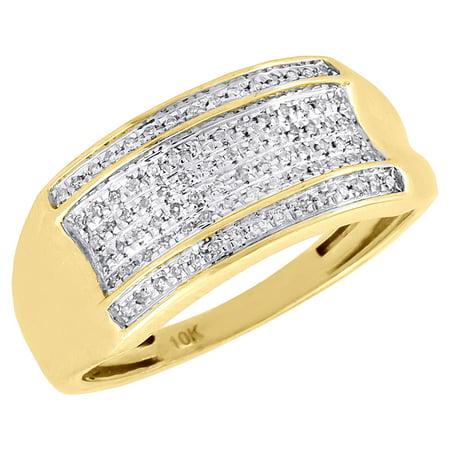 Diamond Wedding Band Mens 10K Yellow Gold Round Cut Pave Fashion Ring 0.14 (Gold Diamond Cut Pave)