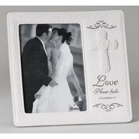 Silver Wedding Gift (Love Never Fails Wedding Gift Picture Frame With Cross Silver Holds 5