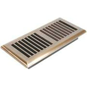 Louvered Floor Register, 4 In. X 10 In., Antique Brass
