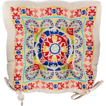 Mainstays Medallion Chair Cushion, Multi color, (Best Fabric For Kitchen Chair Cushions)