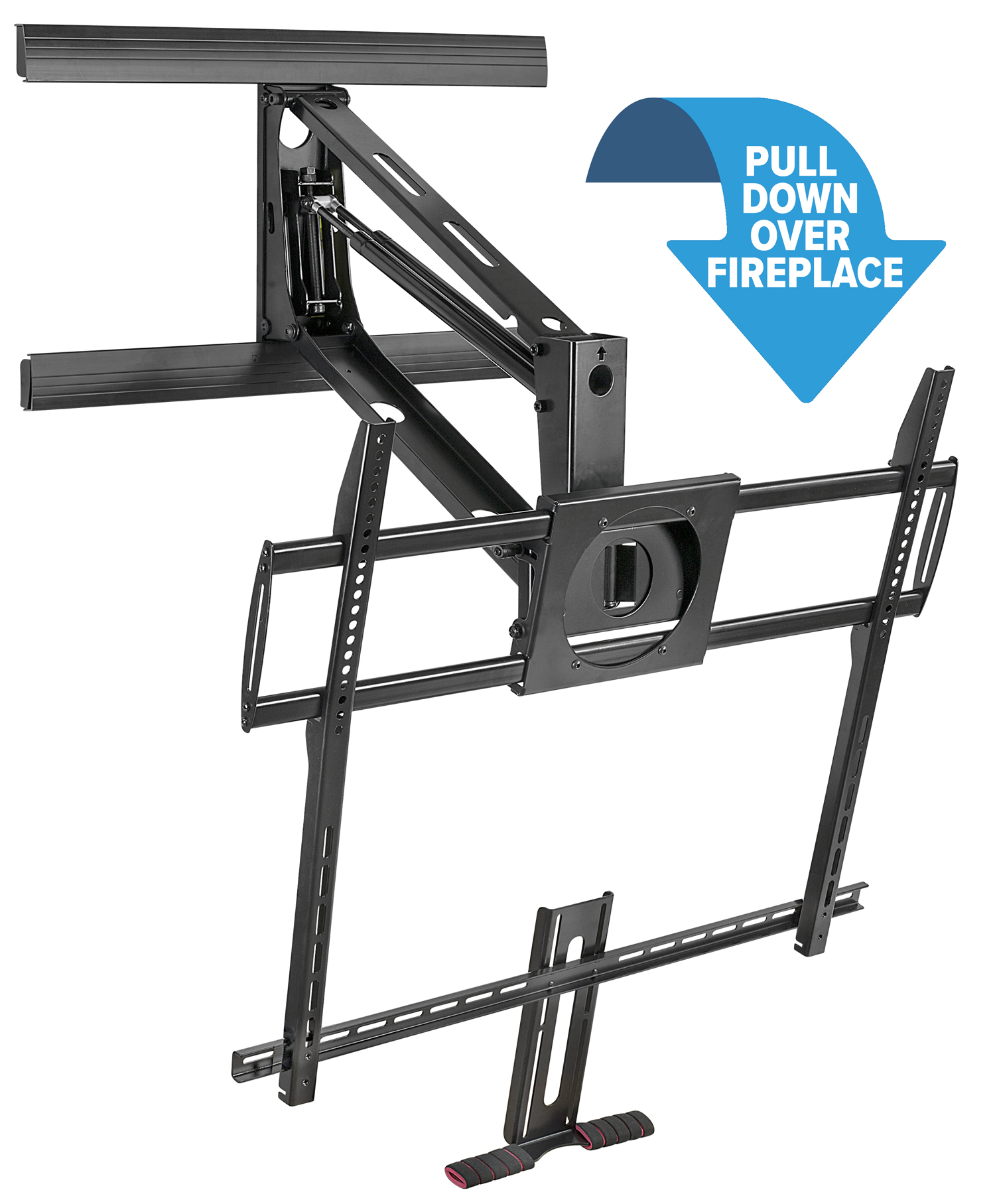 Mount It! Fireplace TV Mount, Heavy Duty Mantel TV Mount Pull Down Mounting Bracket With Height Adjustment, Fits 50 100 Inch TVs Black, Brand: