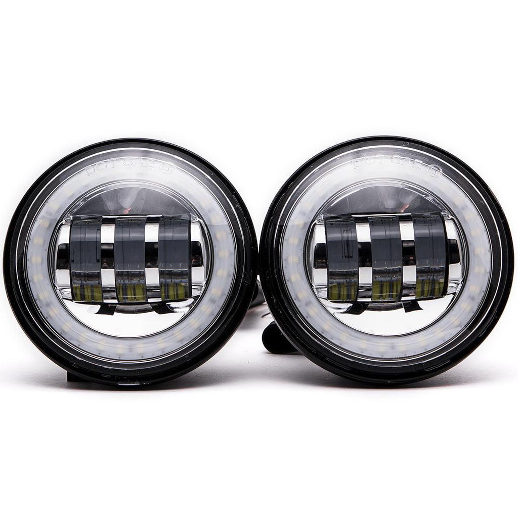 """Krator Black 2x 4.5"""" LED Spot Fog Passing Light Angel DRL for Harley Davidson Sportster 883 XLH883 1988-2003 - image 3 of 9"""