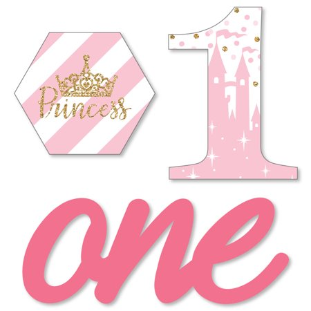 1st Birthday Little Princess Crown - DIY Shaped Pink and Gold Princess First Birthday Party Cut-Outs - 24 -