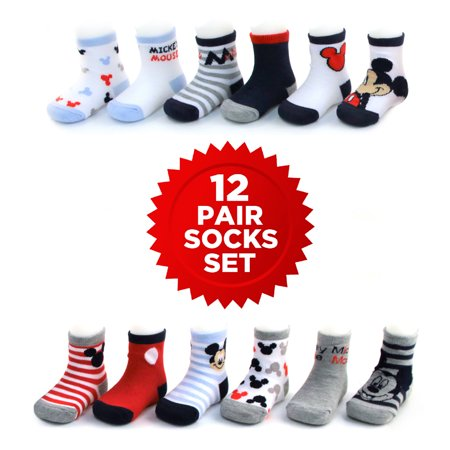 Disney Mickey Mouse 12 Pair Assorted Color Socks Set, Baby Boys, Age 0-24M](Disney Boys Clothes)