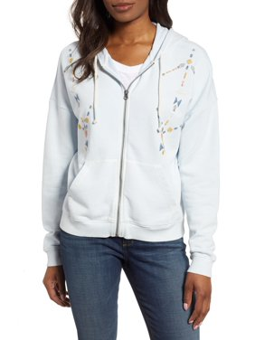 Lucky Brand | Embroidered Zippered Hoodie | Blue | Size M