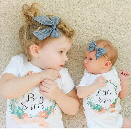 2017 Newborn Infant Toddler Baby Kids Girls Big Sister T Shirts Little Sister Matching Clothes Jumpsuit Romper Outfits Set