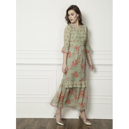 b3c22b868b all about you from Deepika Padukone Women Green Printed Tiered Maxi Dress -  image 1 of ...