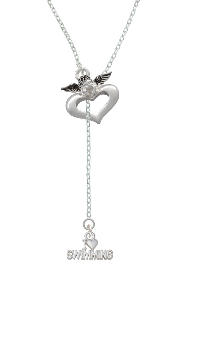 I Heart Swimming Guardian Angel Lariat Necklace by Delight and Co.