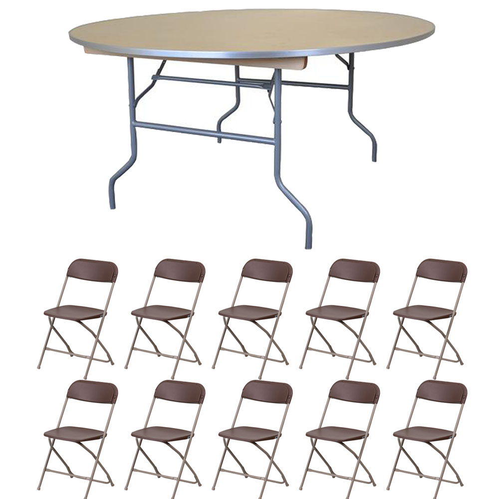 "Pogo 72"" Round Wood Banquet Folding Table and Chairs, 10x Plastic Chair"