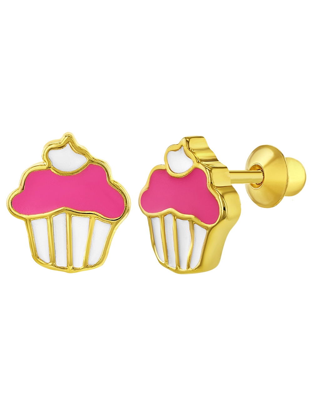 In Season Jewelry 18k Gold Plated Pink Enamel Cupcake Earrings Screw Back for Girls