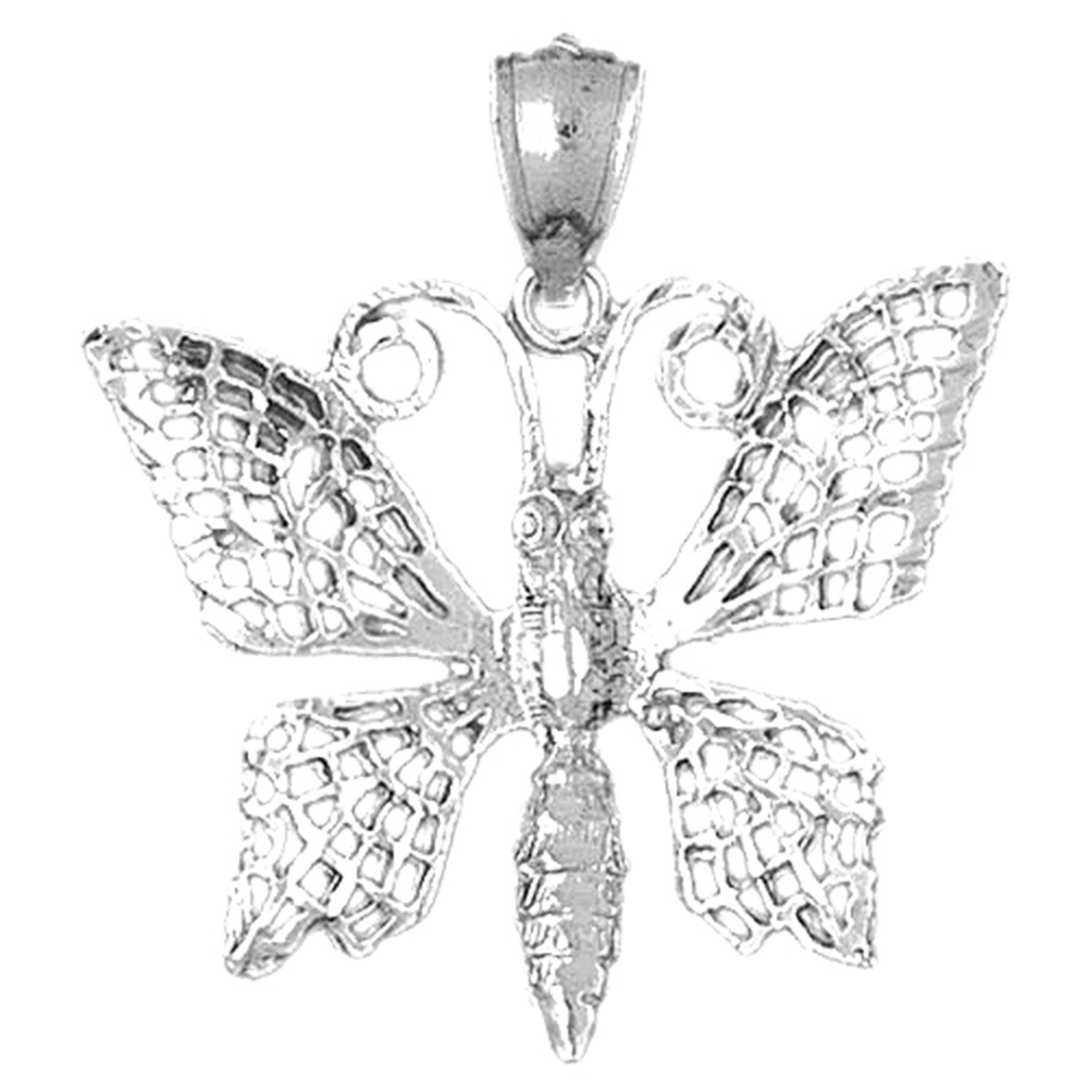 18K White Gold Butterflies Pendant - 33 mm