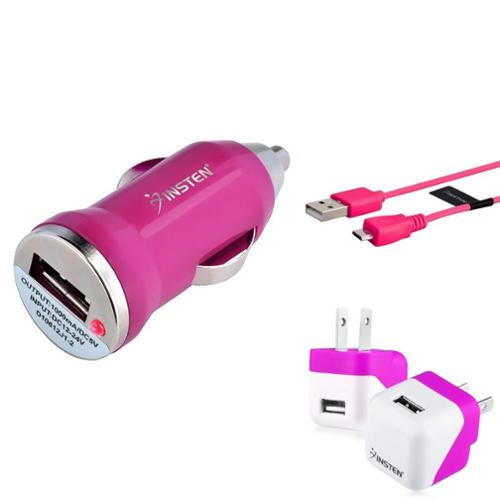 Micro USB Charger by Insten Pink AC Wall + Car Charger + 10' Charging Cable Cord For Samsung Galaxy S7 S6 S5 J3 J7 LG Stylo 3 Huawei Ascend XT2 XT Sensa Moto E4 Plus G5 G4 Play ZTE Majesty Pro Maven 3
