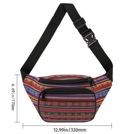 47b63bccb6fc HDE Boho Fanny Pack Aztec Striped Waist Pack Tribal Bum Bag for Men and  Women (Red and Purple)