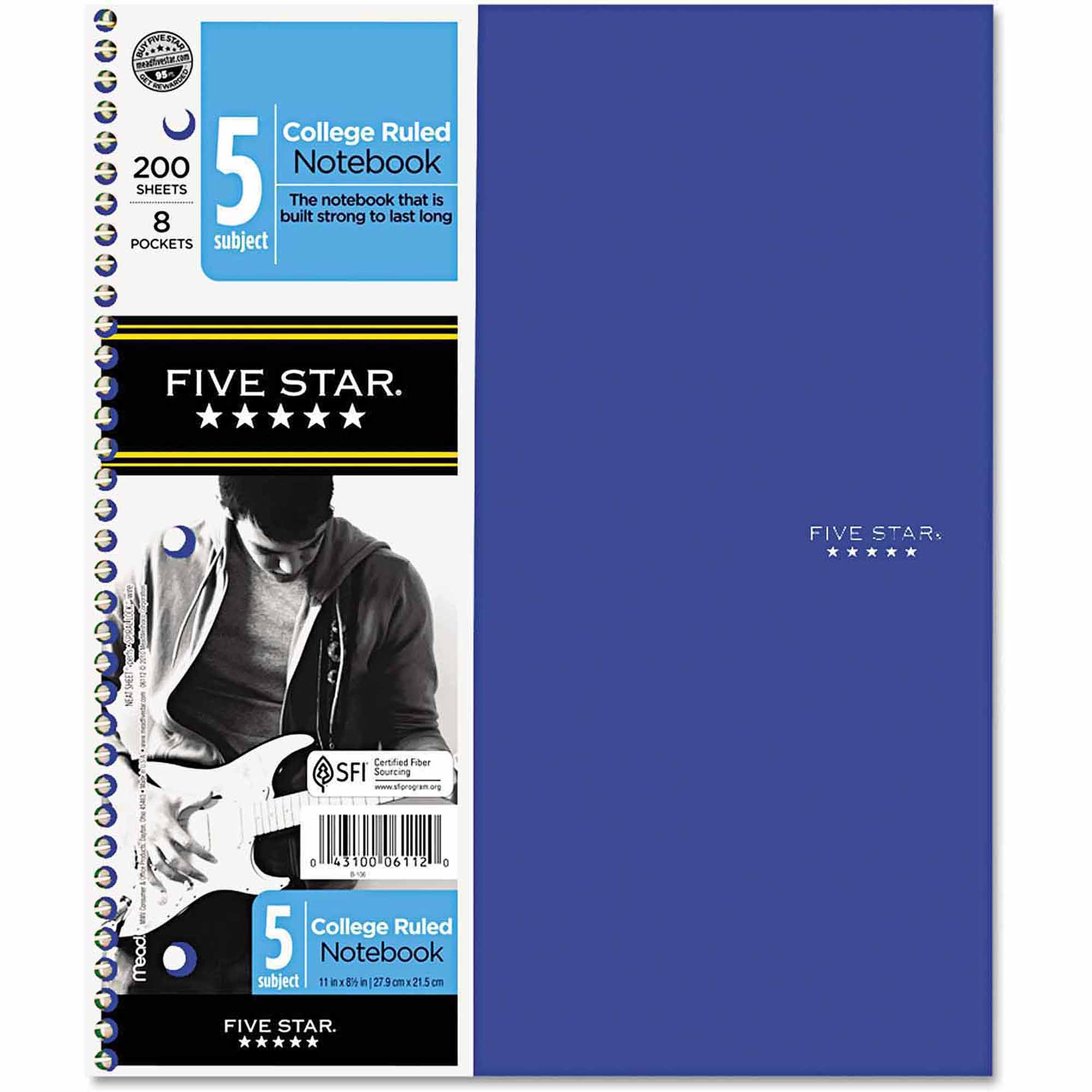 """Five Star Trend Wirebound Notebooks, College rule 8.5"""" x 11"""", 5"""" Subject 200 Sheets"""