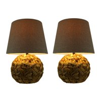 Rattan Weaved Ball Table Lamp with Grey Fabric Shade Set of 2