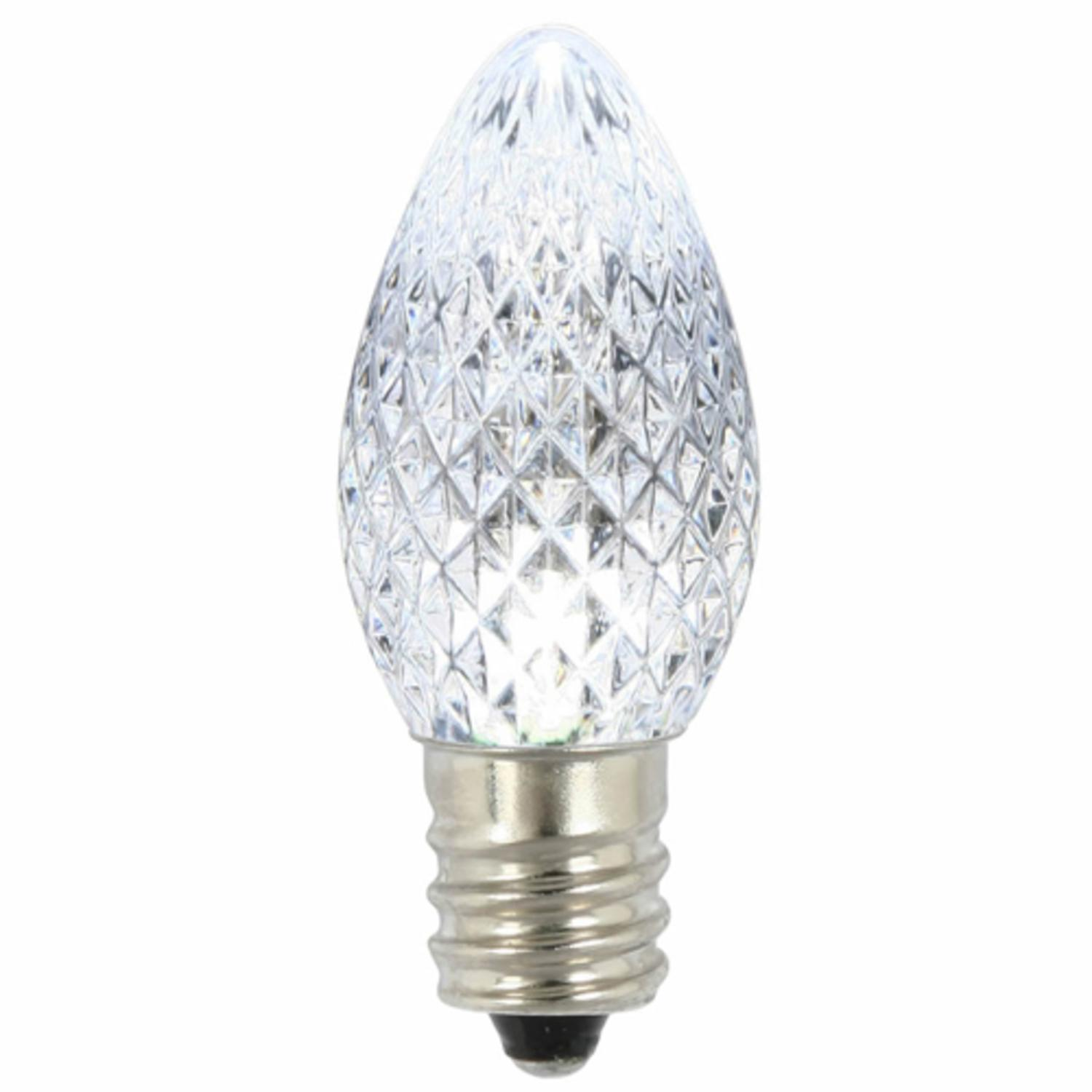Pack of 25 LED C7 Pure White Twinkle Replacement Christmas Light Bulbs