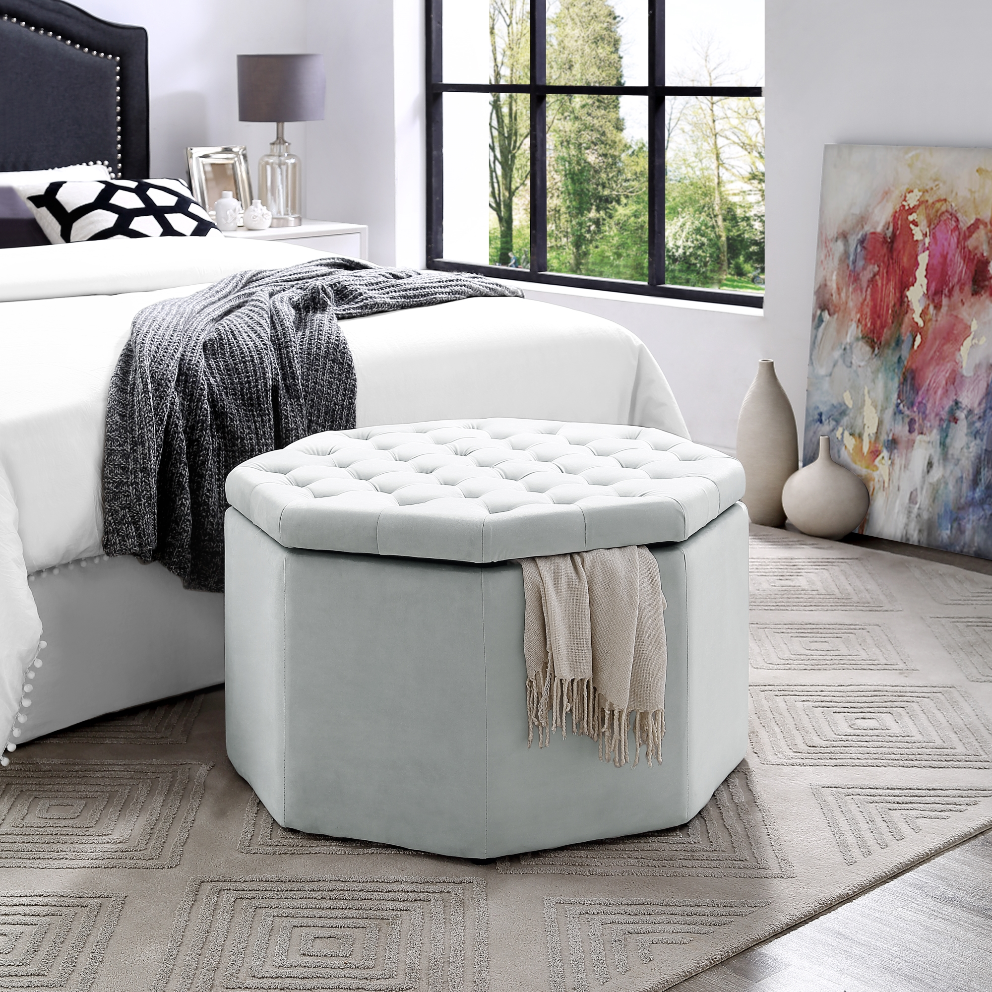 Zora Velvet Storage Ottoman Octagon Cocktail Coffee Table by Inspired Home, Light Grey