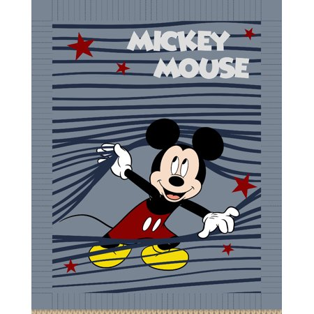 Disney Happy Mickey Stripe No Sew Fleece Throw Kit ()