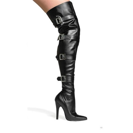 511-BUCKLEUP, 5'' Heel Stretch Thigh Boot . - 5 Inch Thigh High Boots