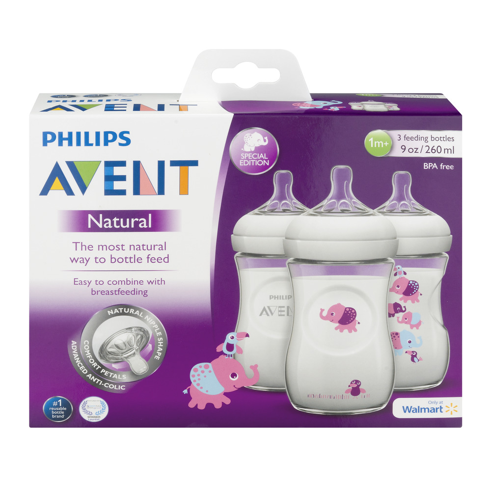 Philips Avent BPA-Free Natural Girl Safari Baby Bottles, 9 Ounce, 3 Pack by Philips AVENT
