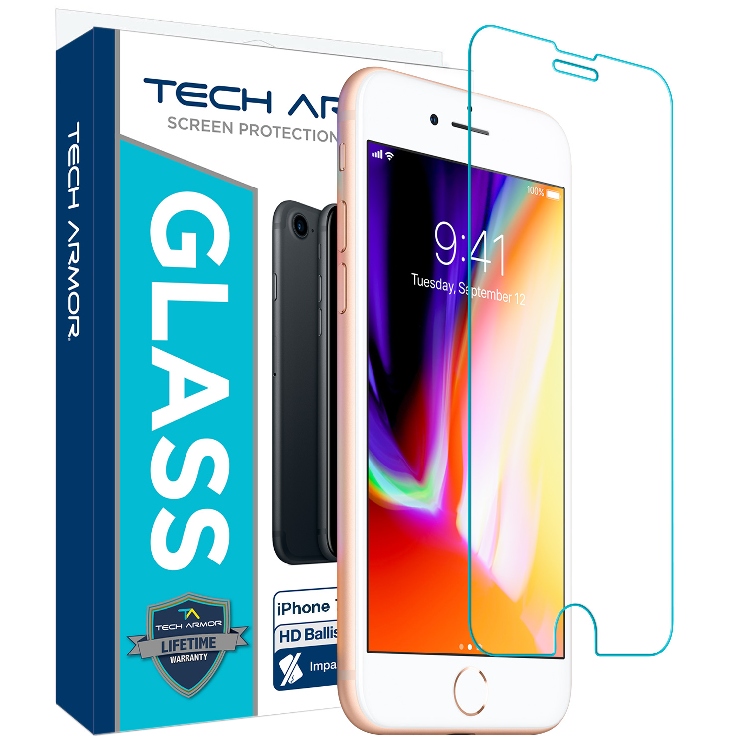 Tech Armor Apple iPhone 6 Plus, iPhone 7 Plus, iPhone 8 Plus Ballistic Glass Screen Protector, Premium Tempered Glass for iPhone 6 Plus, 7 Plus, 8 Plus, Clear [1-Pack]