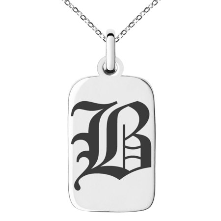 Stainless Steel Letter B Initial Old English Monogram Engraved Small Rectangle Dog Tag Charm Pendant Necklace Rectangle Slide Pendant