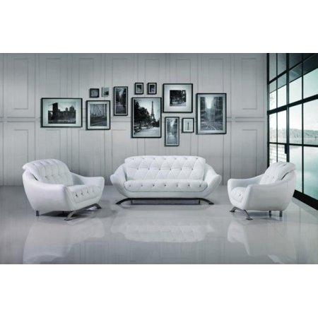 Maxwest P228 Contemporary White Genuine Italian Leather Sofa Set 3 ...