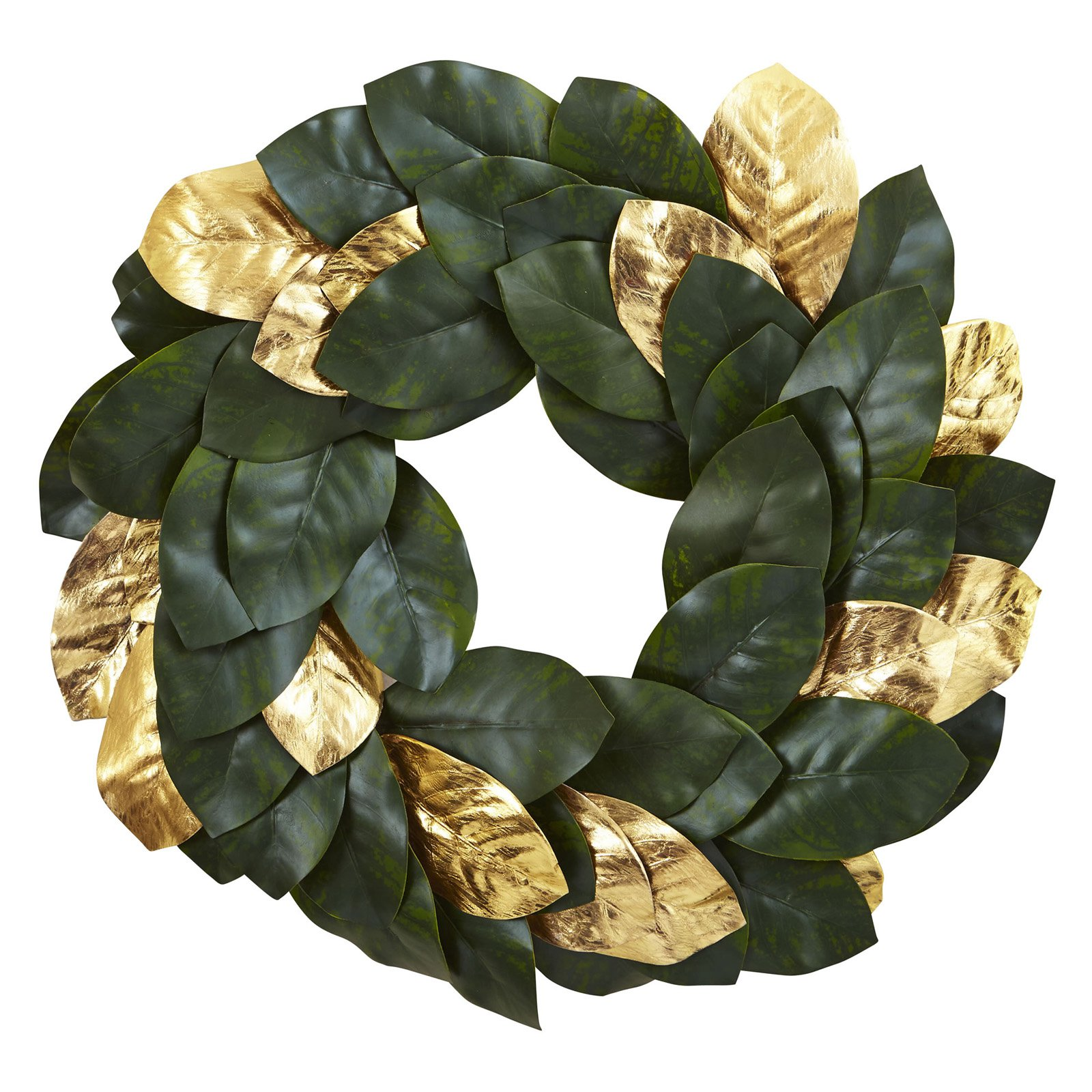 Nearly Natural 22 in. Golden Leaf Magnolia Wreath