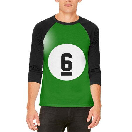 Halloween Billiard Pool Ball Six Costume All Over Mens Raglan T Shirt - Level 6 Of 100 Floors Halloween