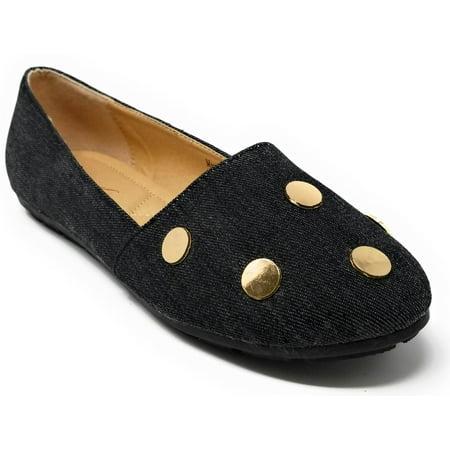 Victoria K Women Ballet Flats Ballerina Loafers Slip-On Shoes w/ Golden - Teal Ballet Flats