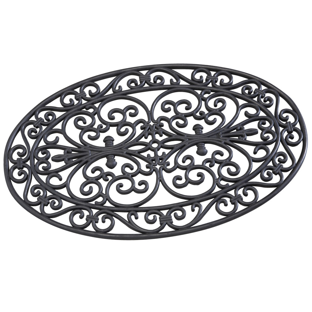 Oval Scroll Outdoor Rubber Door Mat, Black