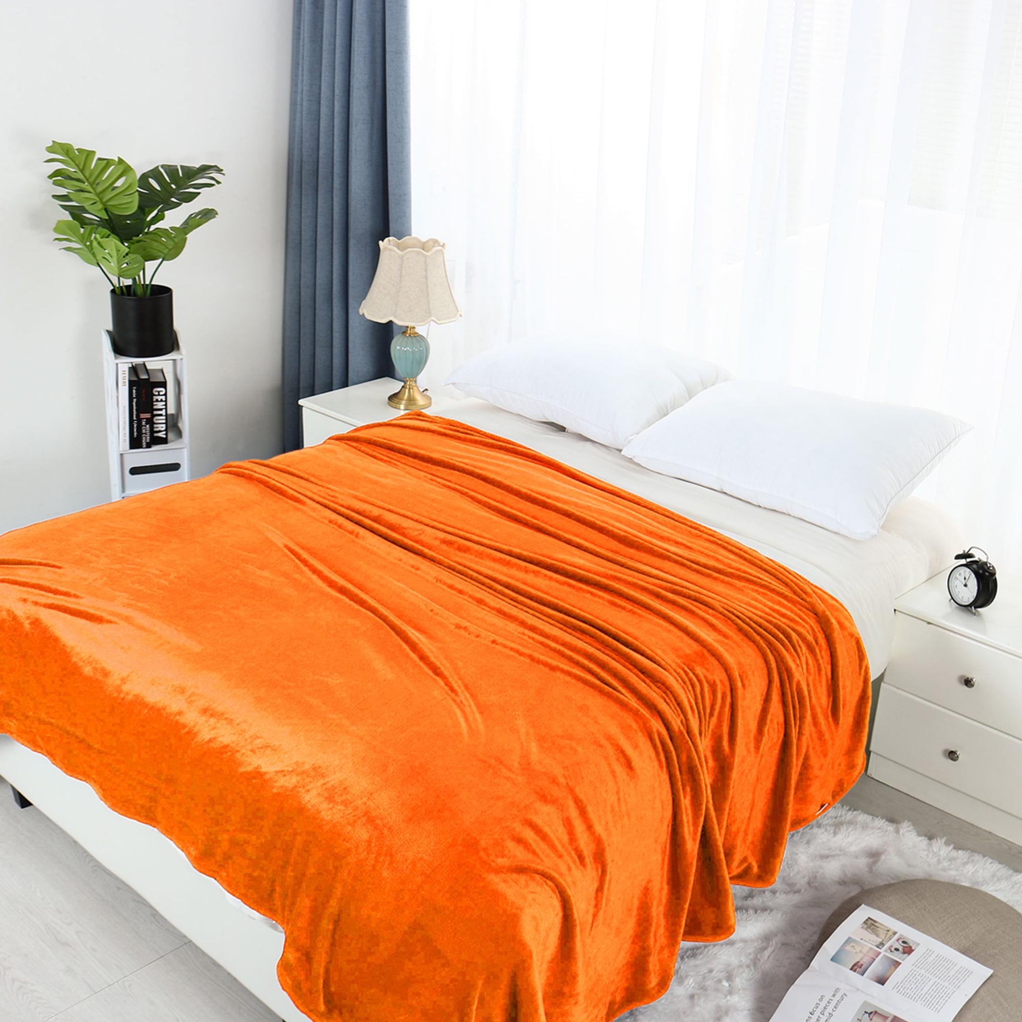 Home Bedroom All Season Lightweight Soft Warm Fuzzy Microplush Fleece Bed Blanket Orange King 90 X 108 Walmart Com Walmart Com