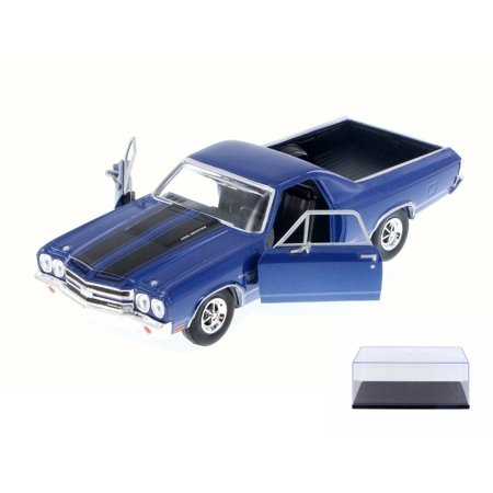 Diecast Car & Display Case Package - 1970 Chevy El Camino, Blue - Motor Max 79347 - 1/24 Scale Diecast Model Toy Car w/Display Case (Chevy El Camino Model)