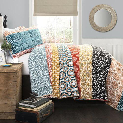 Bohemian Stripe Turquoise/Orange Bedding Quilt Set