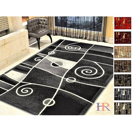 Free Carpet (Handcraft Rugs-Modern Contemporary Brand New Area Rugs-Abstract Carpet with Wavy Swirls -Shed free Black/White/Gray/Ivory (2x 3 feet Doormat))