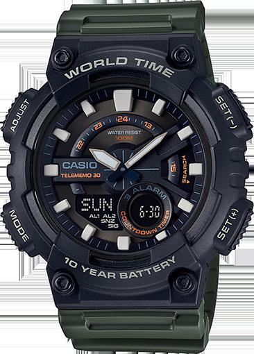 Men's World Time Telememo 30 Watch, Green Resin Strap - AEQ110W-3AV