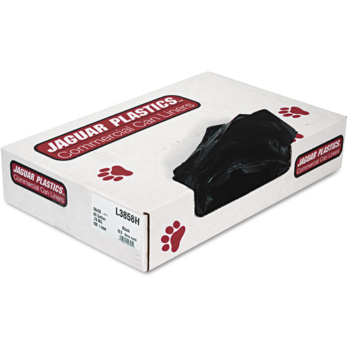 Jaguar Plastics Industrial Strength Black Commercial Can Liners, 60 gal, 100 ct