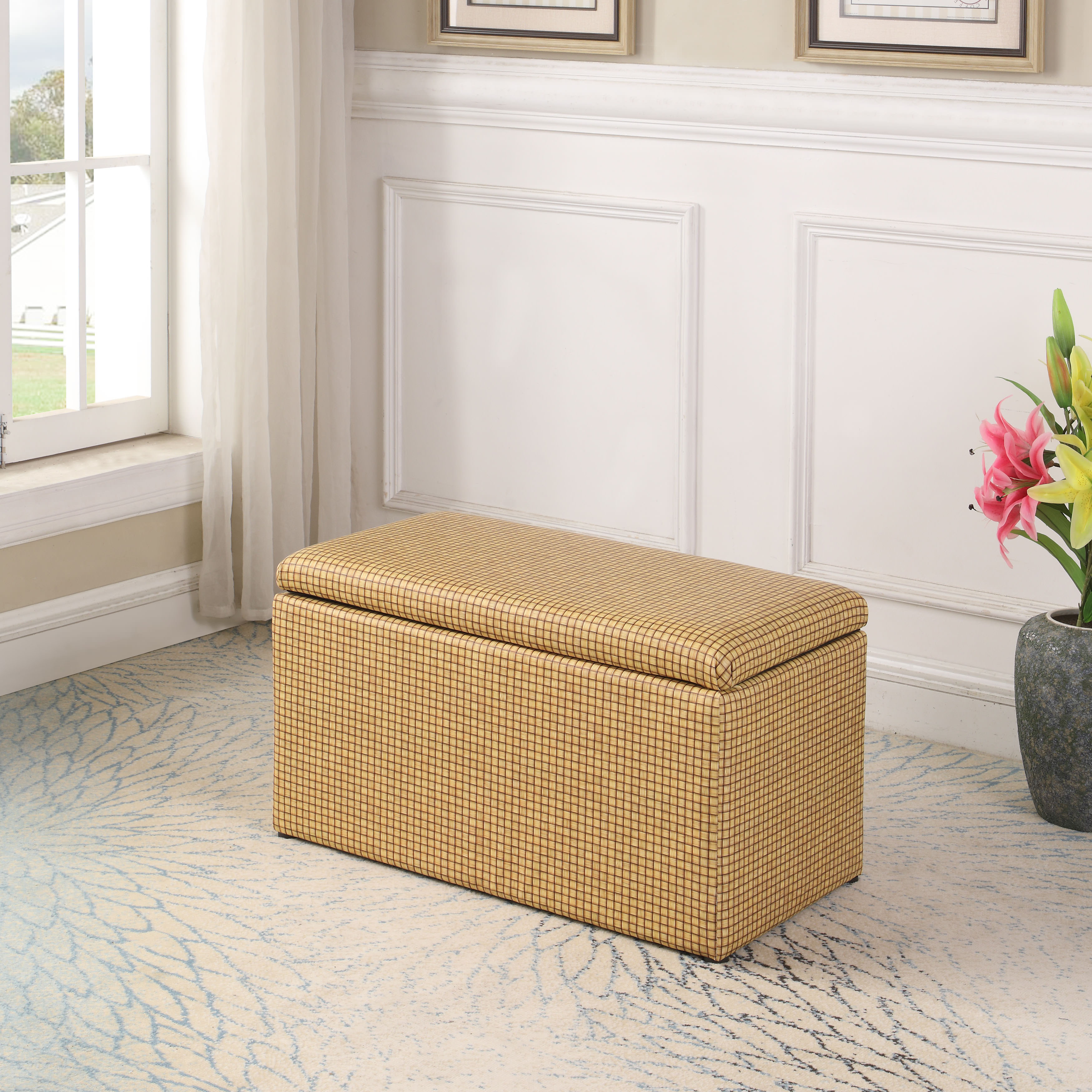 """18"""" in Yellow Gold Plaid Leatherette Marble Pattern Storage Ottoman Hidden Tray + 1 Seat"""
