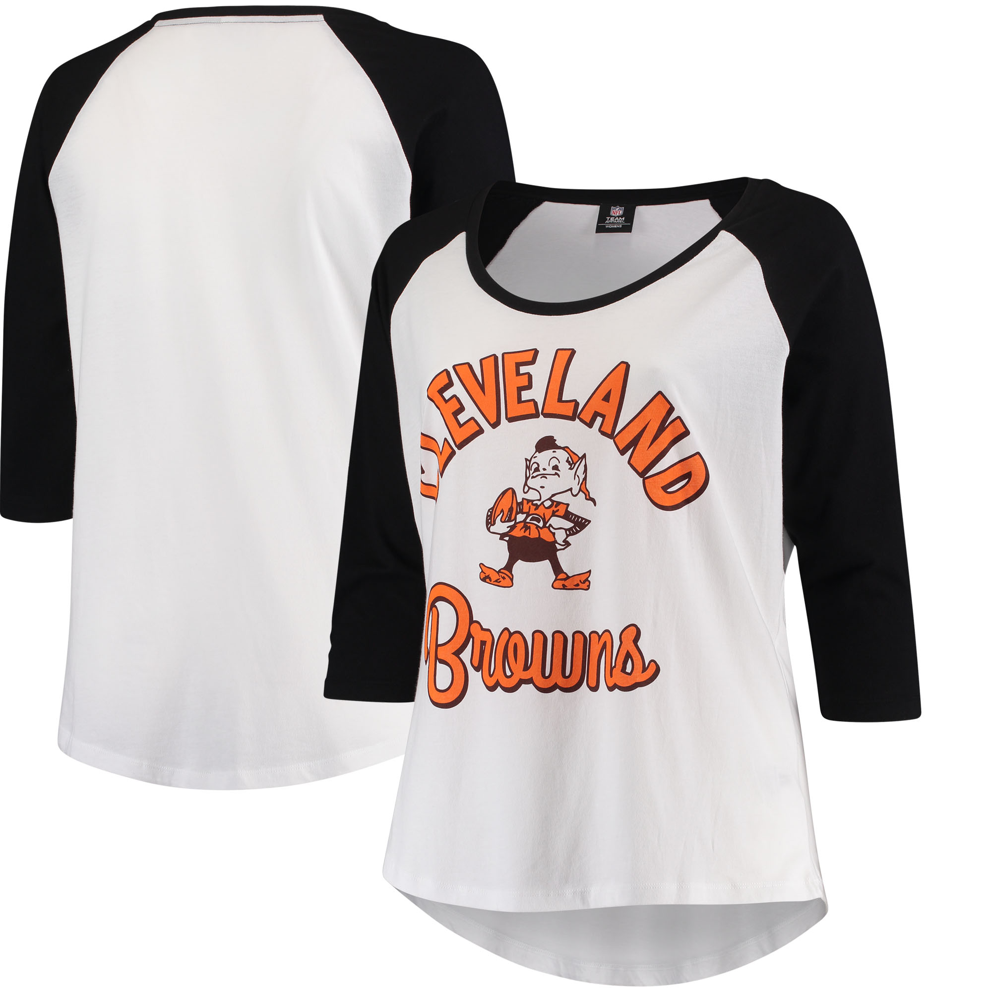 Cleveland Browns 5th & Ocean by New Era Women's Plus Size 3/4-Sleeve Raglan T-Shirt - White/Black - Plus 4X