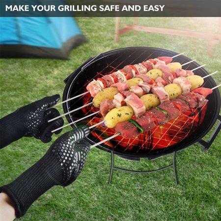 BBQ Grilling Gloves Heat Resistant 923?F Cooking Gloves Hot Food Gloves Anti-Slip Aramid Fiber - image 3 de 6