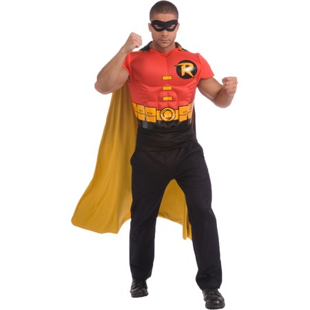 Adults Batman Robin Muscle Chest Costume T-shirt Cape & Mask Size XL 44-46 - Robin Costume Mask