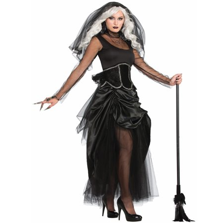 Shadow Ghost Black Wicked Gothic Witch Bride Halloween Costume Dress-Std
