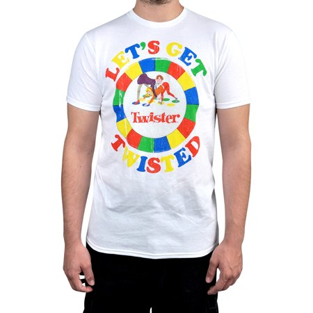 Men's Twister Game White Short Sleeve Graphic T-Shirt (Halloween Bend Twister Game)