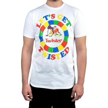 Men's Twister Game White Short Sleeve Graphic T-Shirt