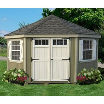 Little Cottage 10 x 10 ft. 5-Sided Colonial Panelized Garden Shed with Transom Windows by Little Cottage Co