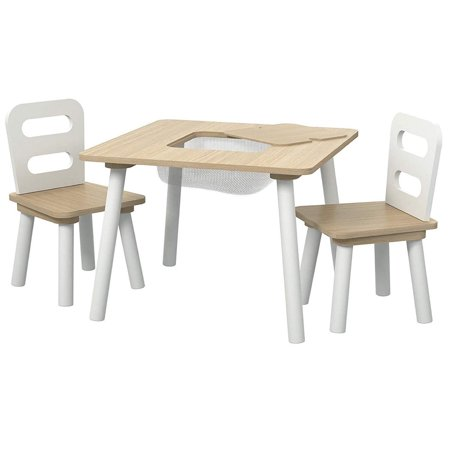 Pidoko Kids Table And Chairs Set With Storage Natural
