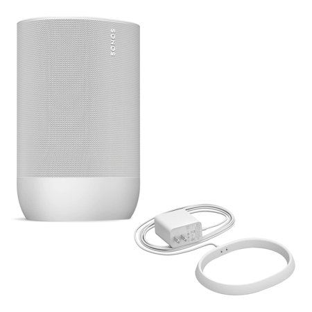 Sonos Move Durable, Battery-Powered Smart Speaker with Additional Charging Base (White)