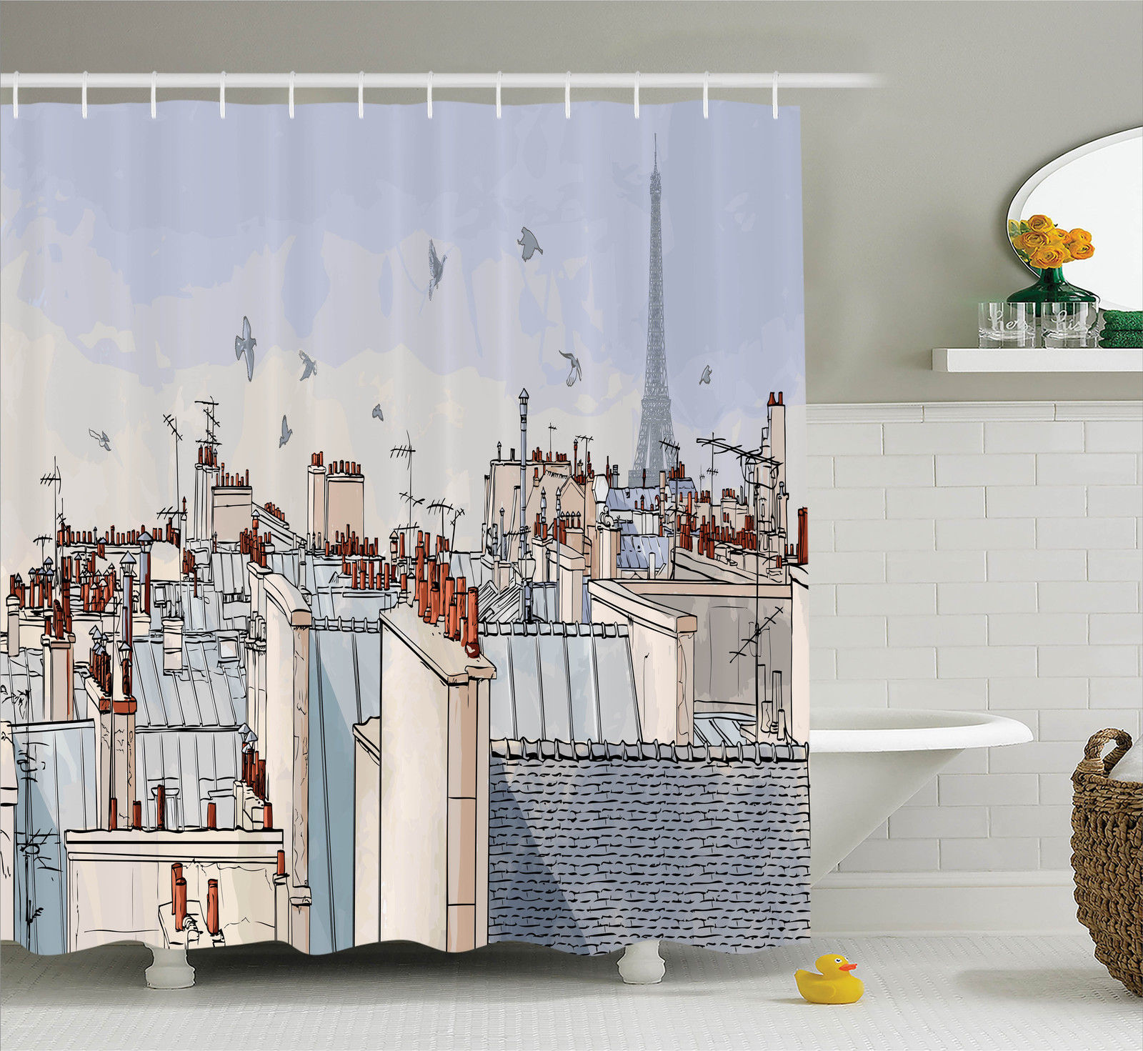 Paris City Decor Paris Roofs With Eiffel Tower Birds Sky Clouds Panoramic Scenic Illustration, Bathroom Accessories, 69W X 84L Inches Extra Long, By Ambesonne