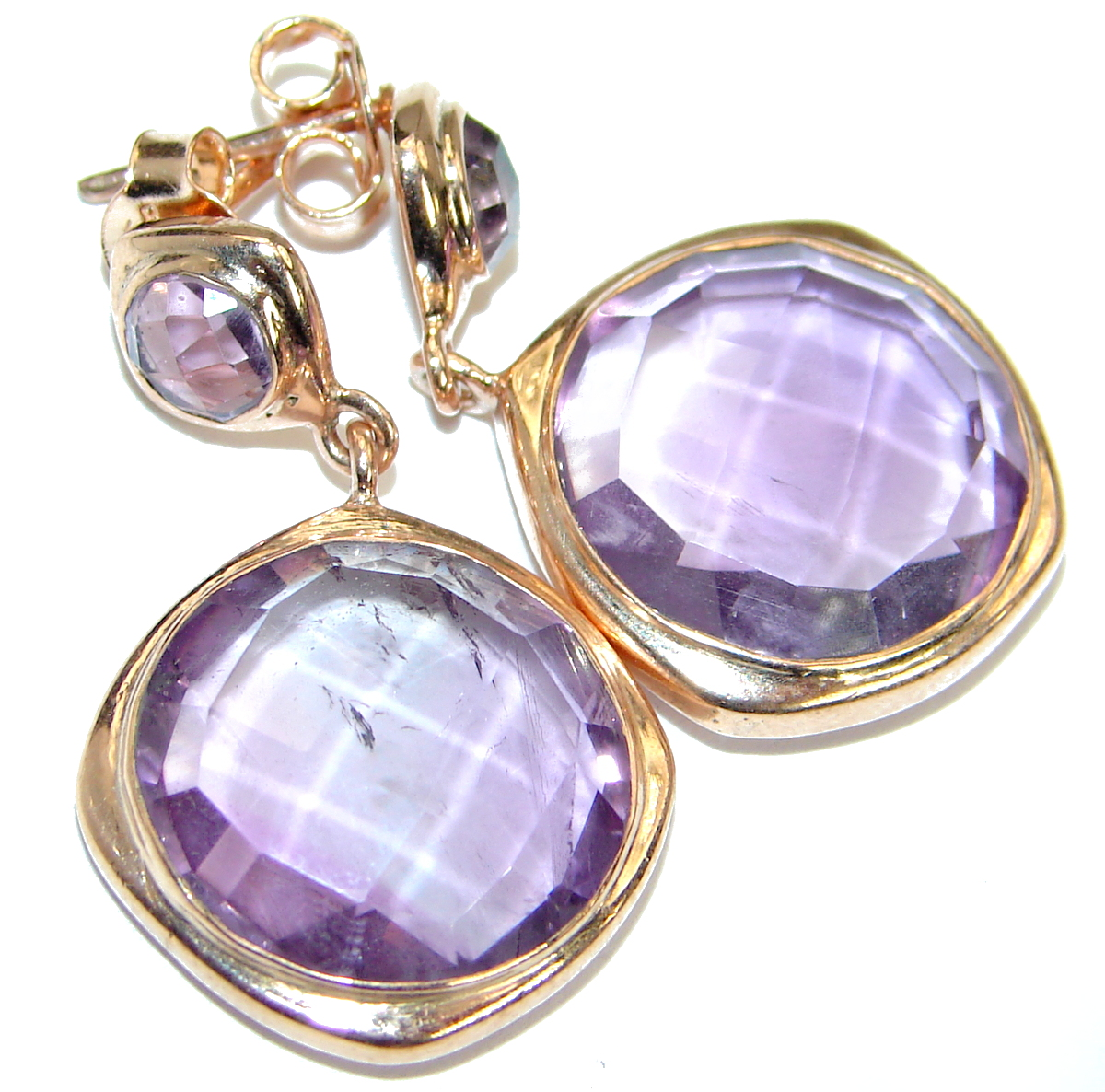 Genuine Pink Amethyst Rose Gold plated over .925 Sterling Silver handmade Earrings by SilverRush Style by